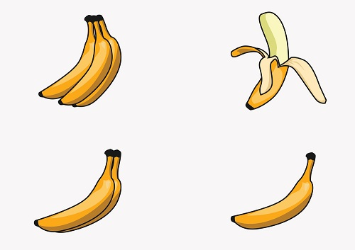 infographic - Bananas weigh about 4-ounces. This is a standard weight for bananas